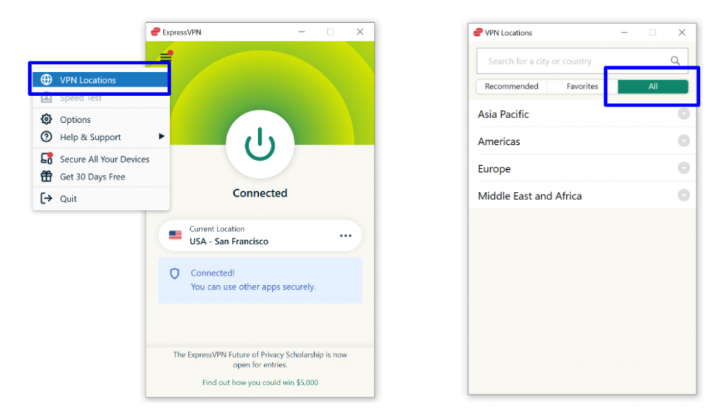 Screenshot showing how to find All VPN Locations on ExpressVPN app.