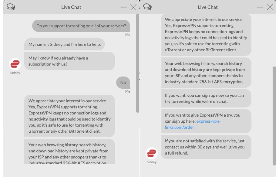 A screenshot of ExpressVPN live chat